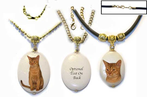 Sorrel Abyssinian Cat Dolomite pendant with gold trim