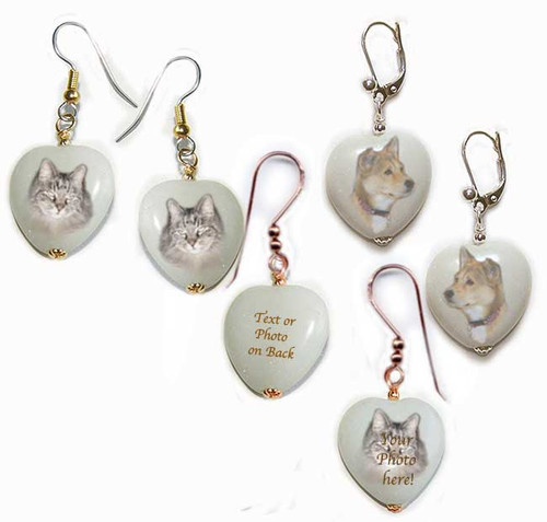 Pet Memorial Heart Shaped earrings