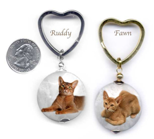 Abyssinian Cat marble photo key ring.