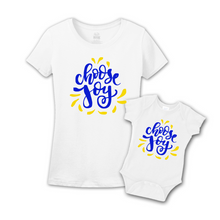 Mommy & Me White/Blue-Yellow Set -  Choose Joy