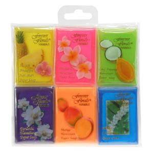 Forever Florals 6-Pk Scented Paper Soap - Pikake, Plumeria, Gardenia, Pineapple, Coco Papaya, Mango