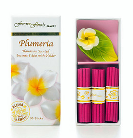 Forever Florals Hawaii Plumeria Incense Petite Gift Box Set (Small Incense Sticks with Ceramic Holder)