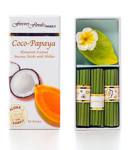 Forever Florals Coconut Papaya Coco-Papaya Incense Petite Gift Box Set (Small Incense Sticks w/ Holder)