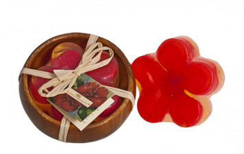 Aloha Beauty Red Hibiscus Floral Bath Bar in Monkeypod Bowl