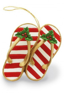 Hawaiian Hand-Painted Christmas Ornament - Festive Slippers