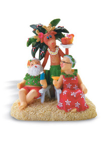 Hawaiian Hand-Painted Christmas Ornament - Holiday Hour with Rudolph, Santa & Mrs. Claus