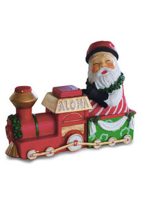 Hawaiian Hand-Painted Christmas Ornament - Santa Train