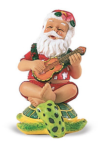 Hawaiian Hand-Painted Christmas Ornament - Strumming Santa on Honu 1