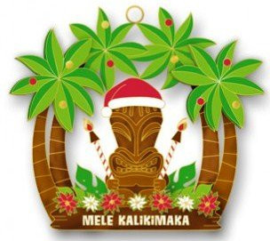 Hawaiian Hand-Painted Metal Die-Cut Christmas Ornament - Holiday Tiki