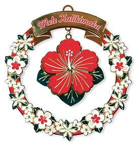 Hawaiian Hand-Painted Metal Die-Cut Christmas Ornament - Mele Hibiscus