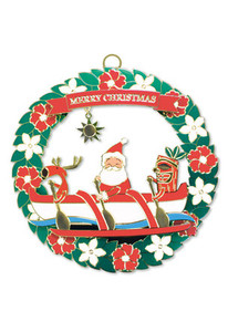 Hawaiian Hand-Painted Metal Die-Cut Christmas Ornament - Santa's Outrigger Canoe