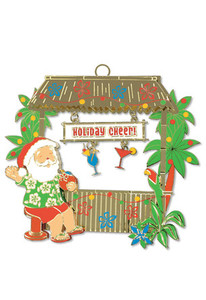 Hawaiian Hand-Painted Metal Die-Cut Christmas Ornament - Tiki Bar Santa