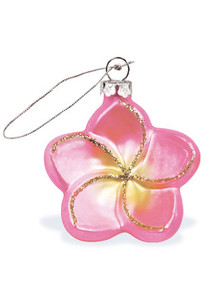 Hawaiian Handblown Hand-Painted Glass Christmas Ornament - Pink Plumeria