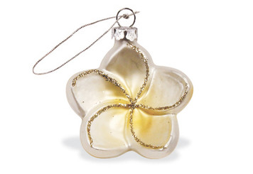 Hawaiian Handblown Hand-Painted Glass Christmas Ornament - White Plumeria
