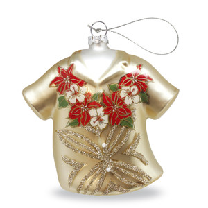 Hawaiian Handblown Hand-Painted Glass Christmas Ornament - Holiday Hibiscus
