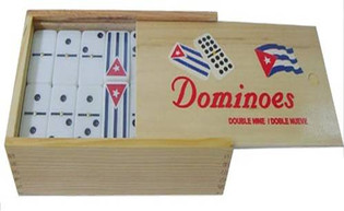 Double 9 Dominoes in Wood Box w/ Cuban Flag