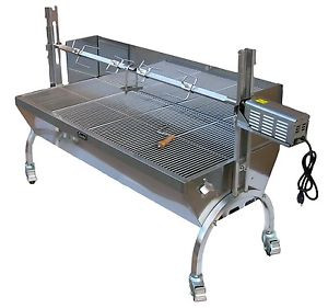 Stainless Steel Spit Rotisserie with backplate 100lbs (Angle) - Latin Touch