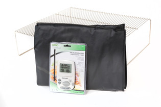 La Caja China accessories package - includes Stainless Steel Top Grill, Large Vinyl Cover, and Digital Thermometer.