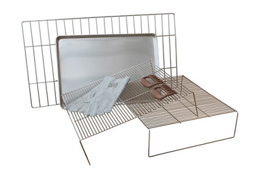 La Caja China accessories package - top grills, oversized grill, serving tray, gloves, bear paws.