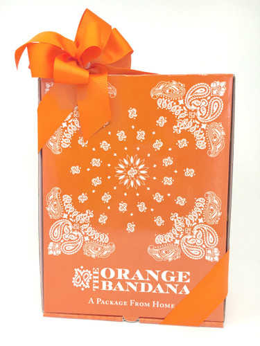 This orange bandana box arrives with class on their doorstep!  We also include an orange bandana!