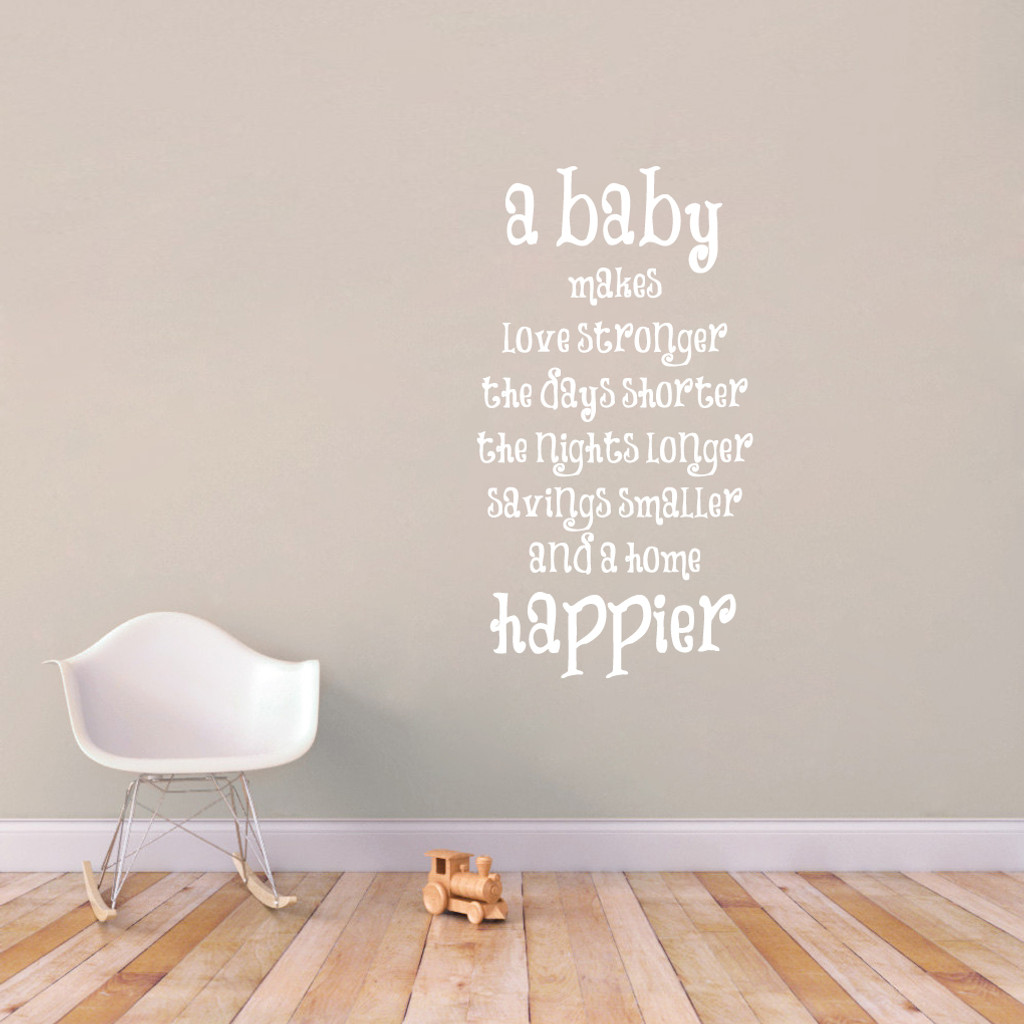 "A Baby Makes Wall Decal 28"" wide x 52"" tall Sample Image"