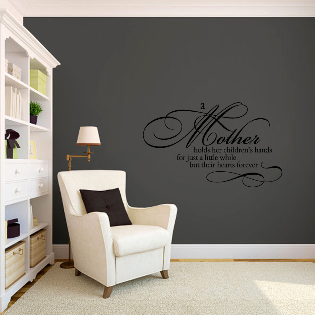 "A Mother Holds Her Children's Hands Wall Decals 36"" wide x 22"" tall Sample Image"