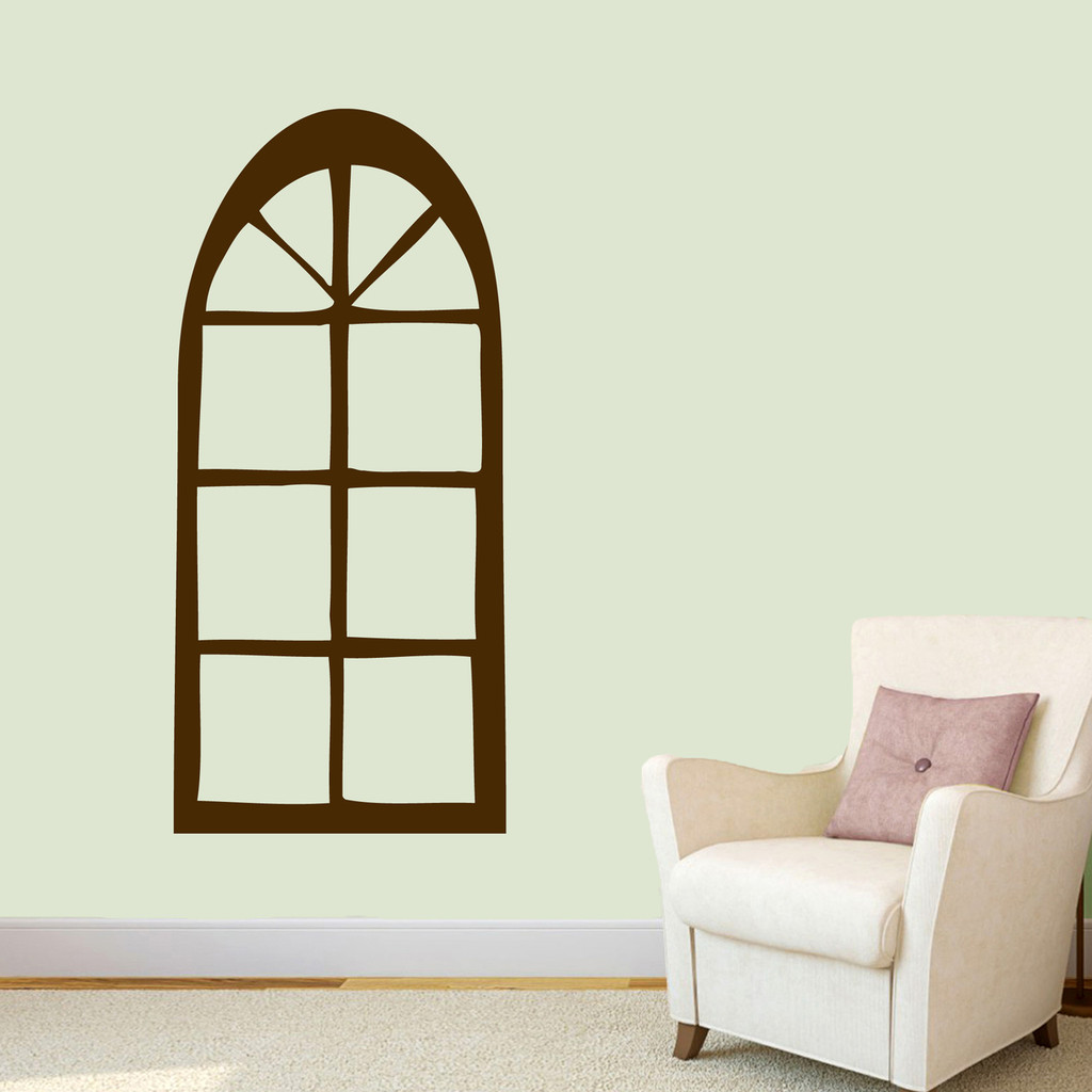 "Arched Window Wall Decal 22"" wide x 48"" tall Sample Image"
