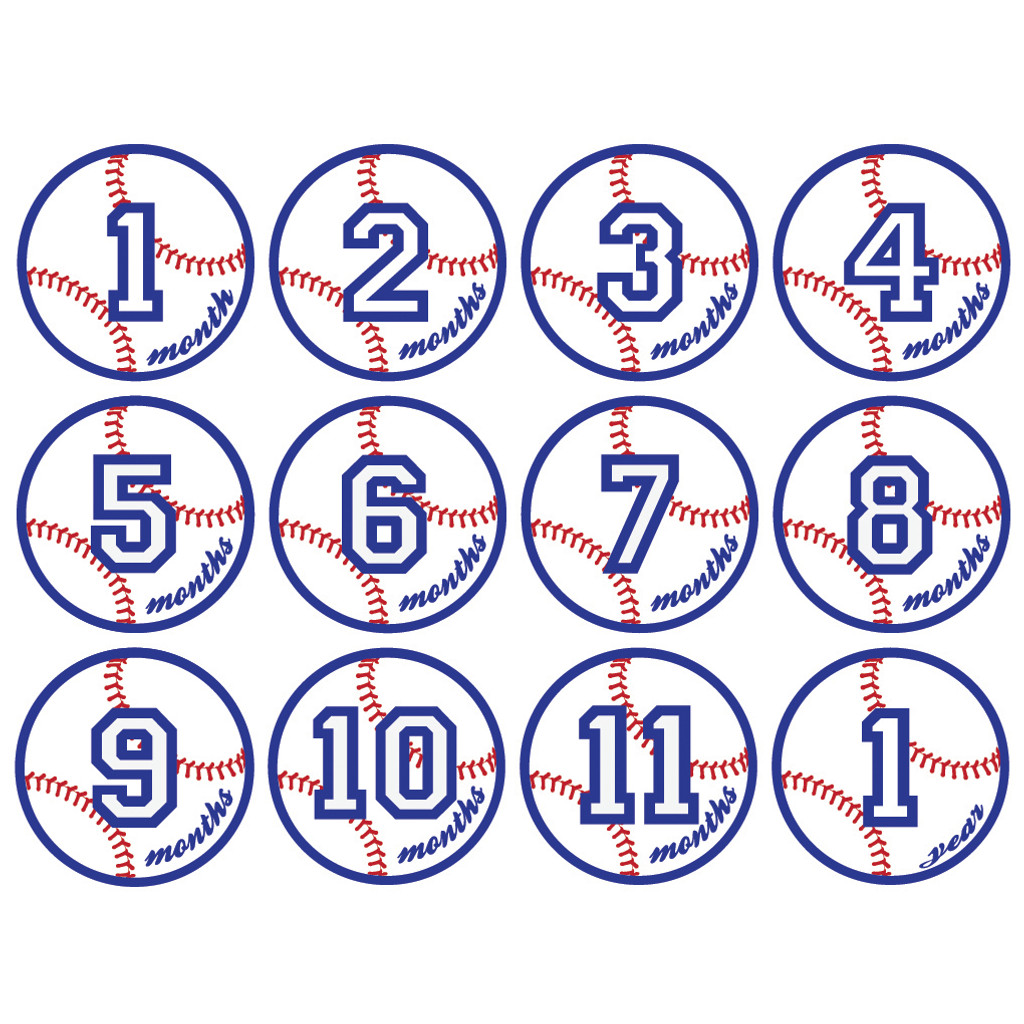 Baseball Monthly Baby Milestone Onesie Stickers Wall Stickers