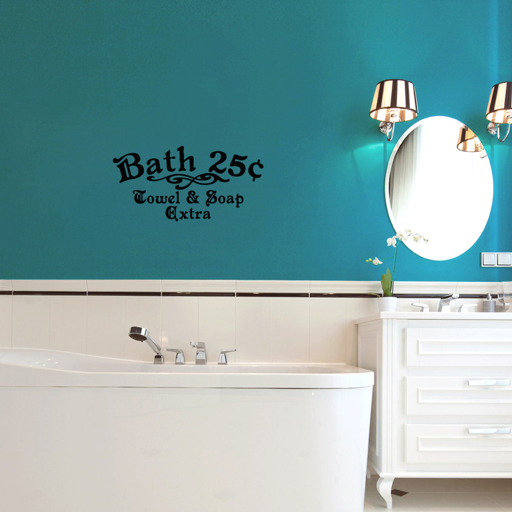 """Bath 25¢ Towel & Soap Extra Wall Decals 24"""" wide x 12"""" tall Sample Image"""