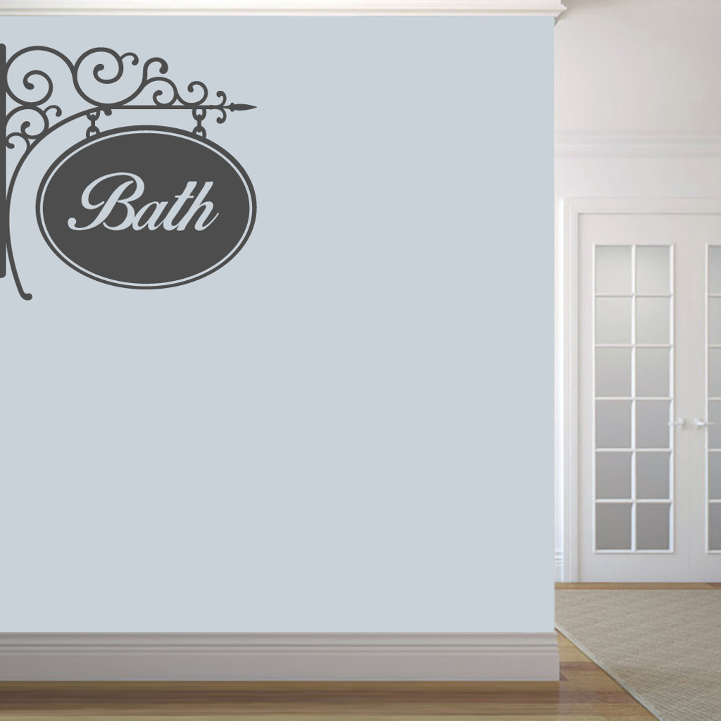 """Bath Sign Wall Decals 36"""" wide x 36"""" tall Sample Image"""