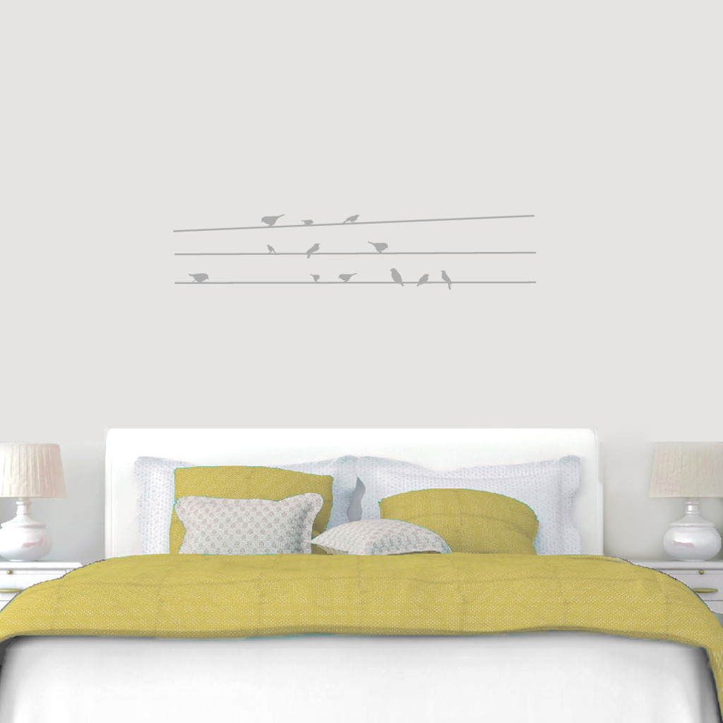 """Birds On Lines Wall Decals 48"""" wide x 10"""" tall Sample Image"""