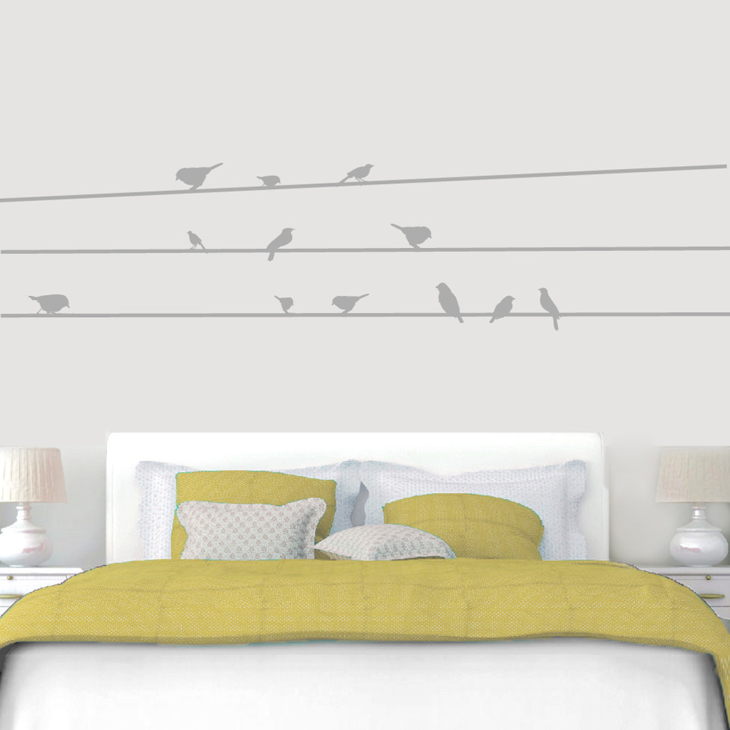 """Birds On Lines Wall Decals 96"""" wide x 22"""" tall Sample Image"""