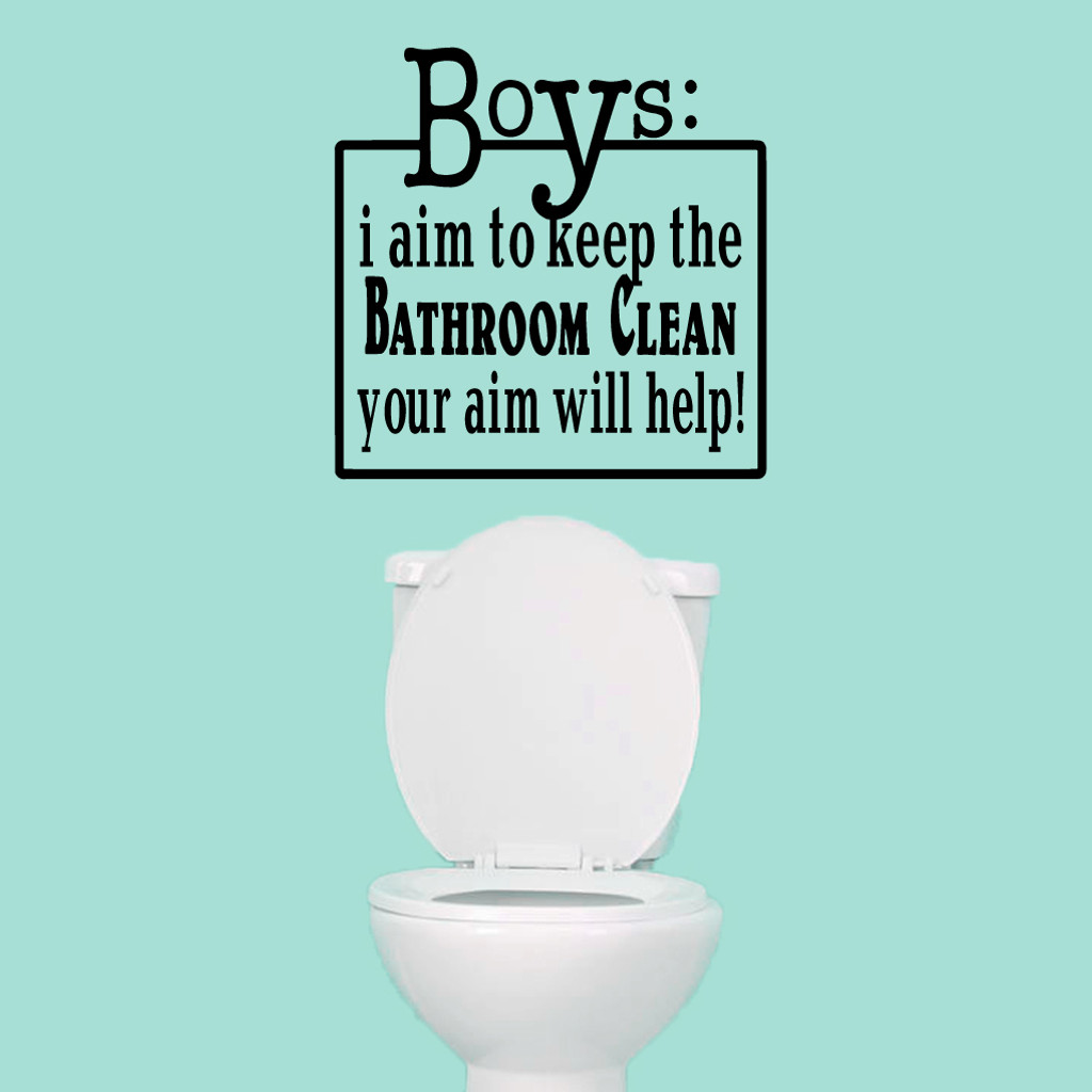 "Boys: Your Aim Will Help Wall Decals 22"" wide x 22"" tall Sample Image"
