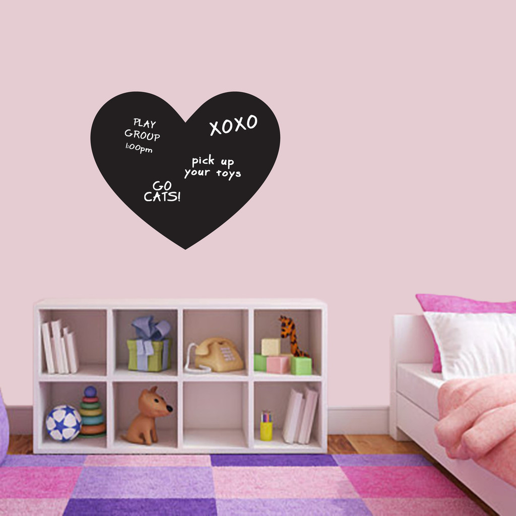 """Chalkboard Heart Wall Decals 24"""" wide x 20"""" tall Sample Image (writing not included)"""