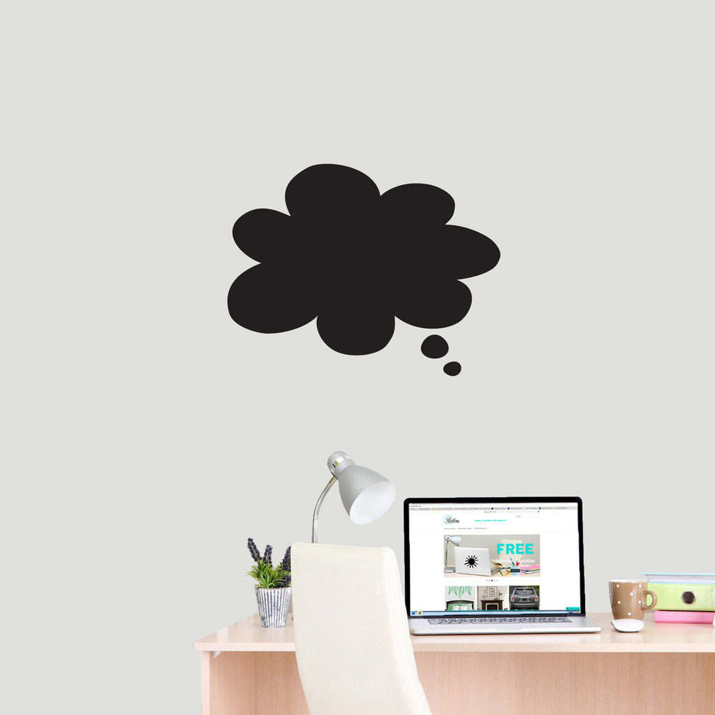 """Chalkboard Thought Bubble Wall Decals 18"""" wide x 14"""" tall Sample Image"""