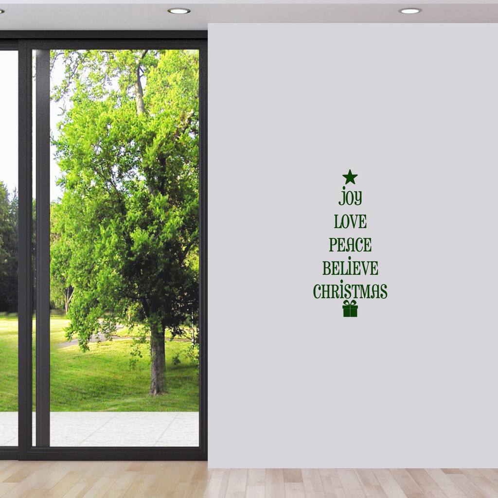 "Christmas Tree Words Wall Decal 12"" wide x 24"" tall Sample Image"
