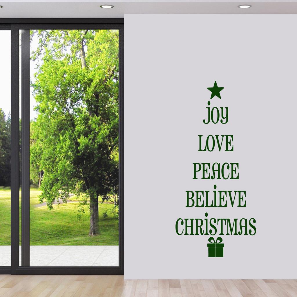 "Christmas Tree Words Wall Decal 22"" wide x 48"" tall Sample Image"