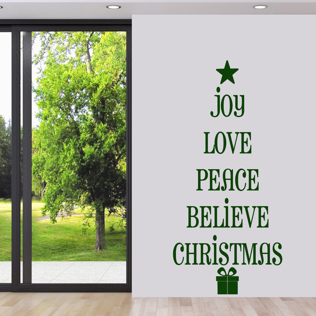"Christmas Tree Words Wall Decal 28"" wide x 60"" tall Sample Image"