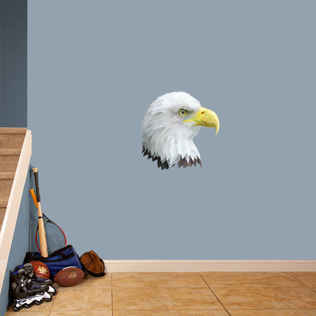 """Eagle Head Mascot Printed Wall Decals 18"""" wide x 18"""" tall Sample Image"""