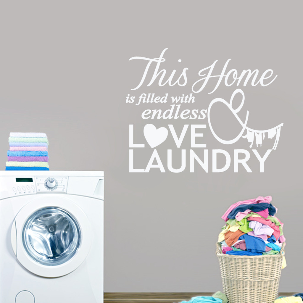 "Endless Love & Laundry Wall Decals 38"" wide x 30"" tall tall Sample Image"