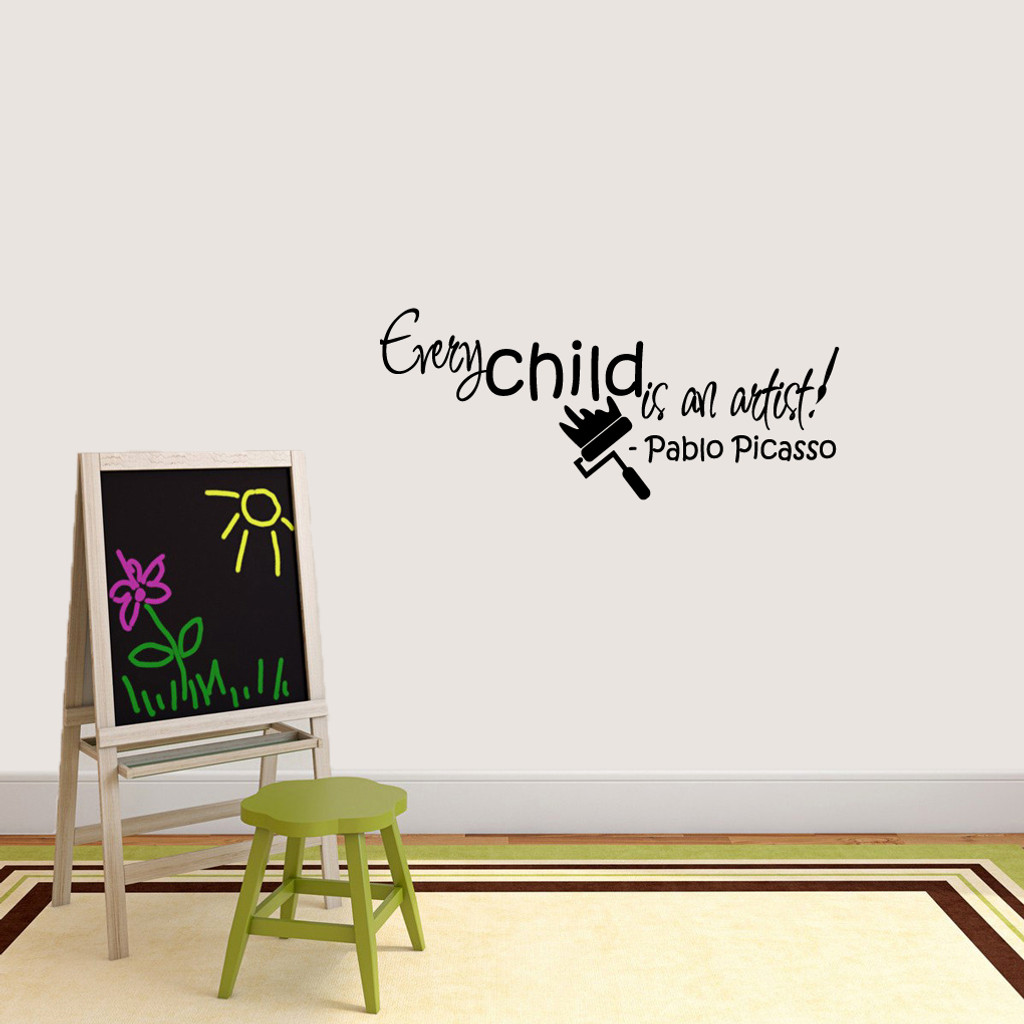 "Every Child Is An Artist Wall Decals 36"" wide x 15"" tall Sample Image"