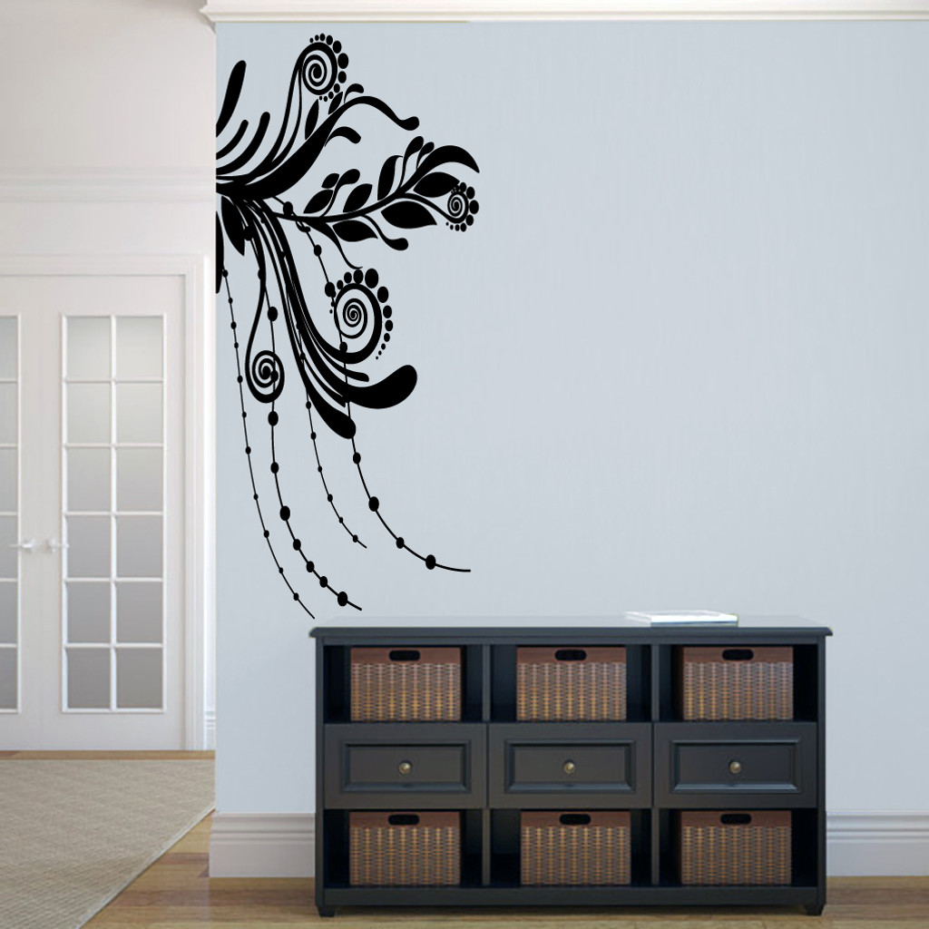 "Corner Flourish Wall Decals 22.5"" wide x 50"" tall Sample Image"