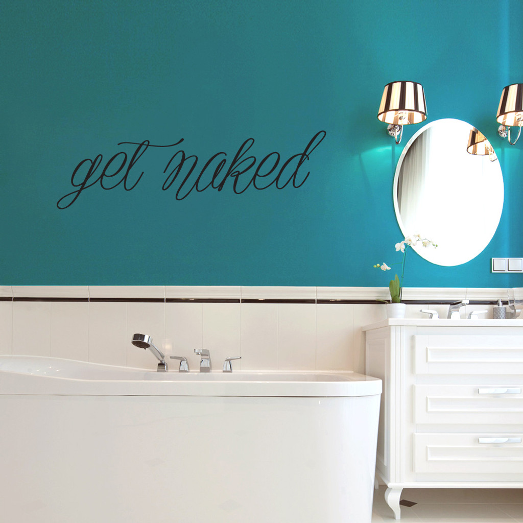 """Get Naked Wall Decals 48"""" wide x 14"""" tall Sample Image"""