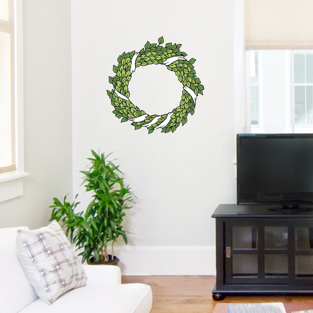 """Green Wreath Printed Wall Decals Wall Stickers 18"""" wide x 18"""" tall Sample Image"""
