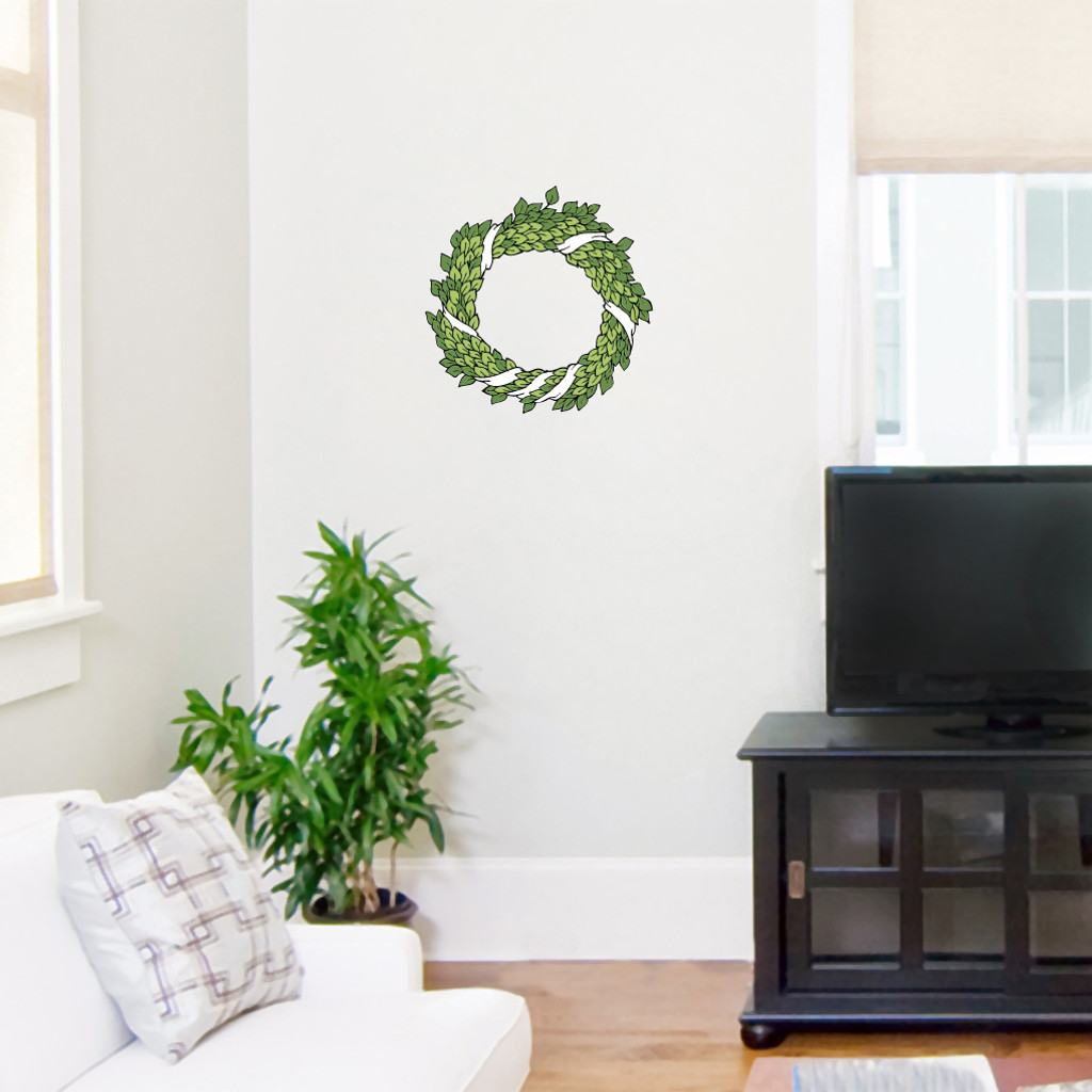 """Green Wreath Printed Wall Decals Wall Stickers 12"""" wide x 12"""" tall Sample Image"""