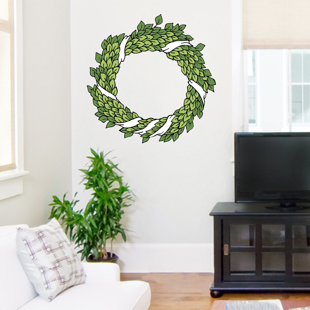 """Green Wreath Printed Wall Decals Wall Stickers 24"""" wide x 24"""" tall Sample Image"""
