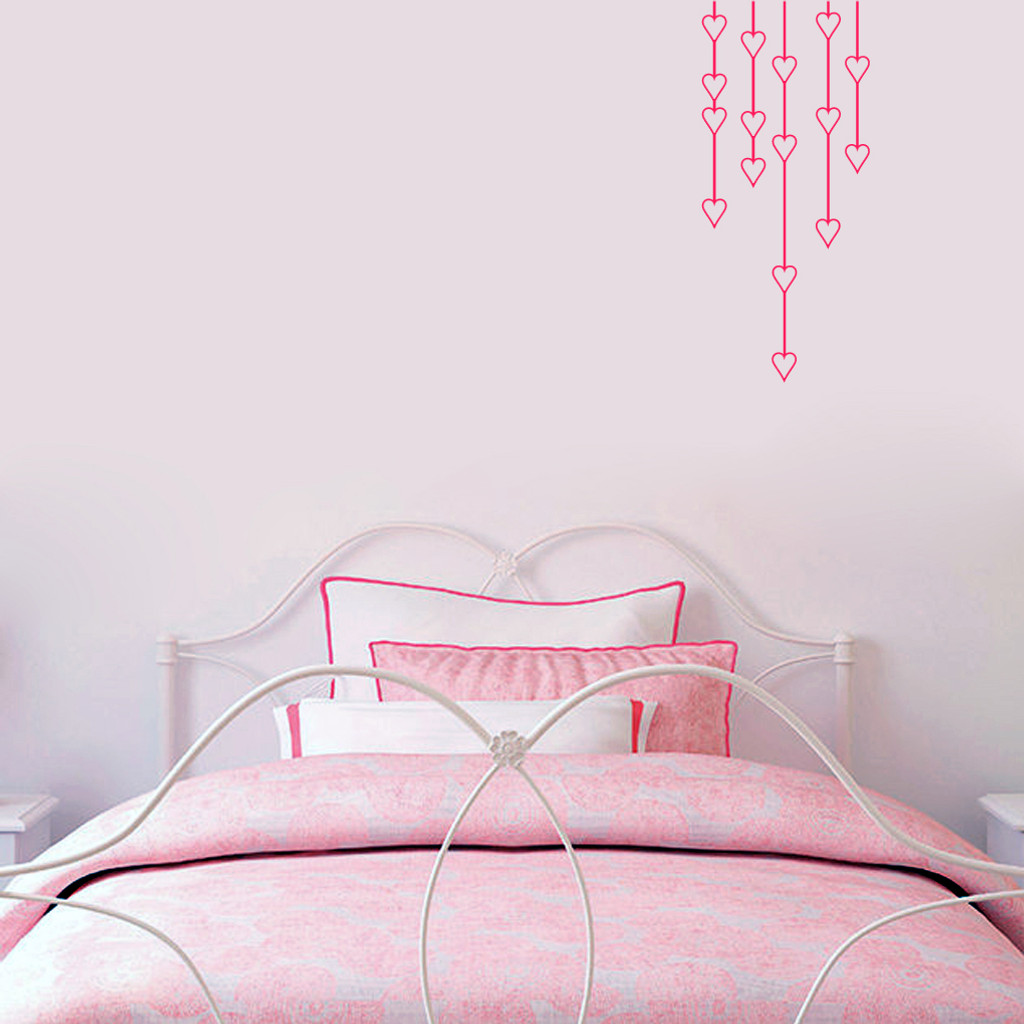 "Hanging Hearts Wall Decals 14"" wide x 32"" tall Sample Image"