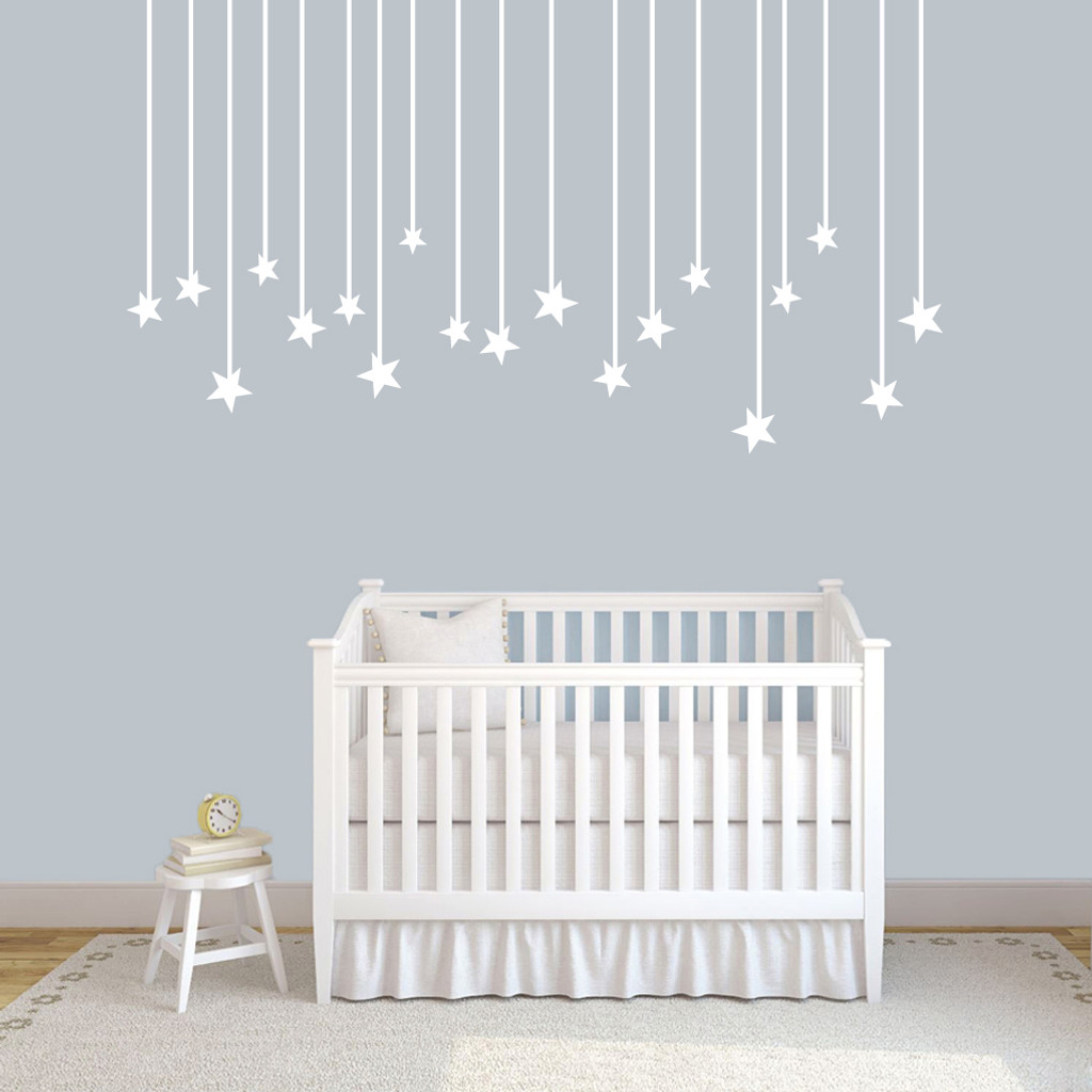 Hanging stars wall decals wall decor stickers hanging stars wall decals 72 wide x 40 tall sample amipublicfo Gallery