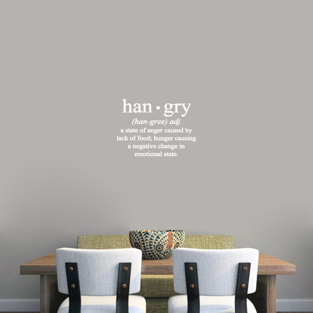 "Hangry Wall Decals 18"" wide x 13"" tall Sample Image"