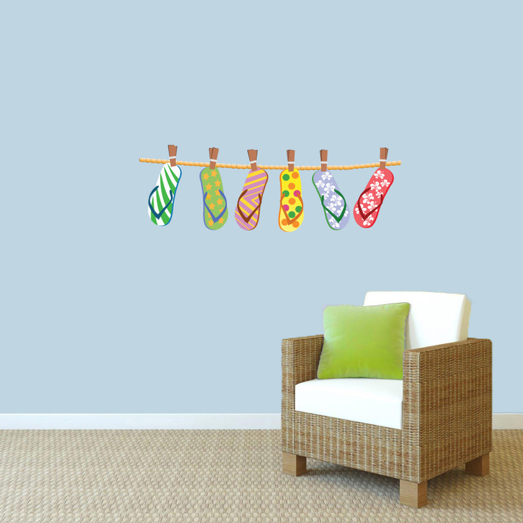 Hanging flip flops printed wall decals wall decor stickers hanging flip flops printed wall decals 36 wide x 12 tall sample amipublicfo Gallery